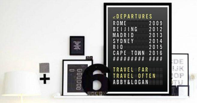 """Poster """"tableau de départ"""" aéroport"""